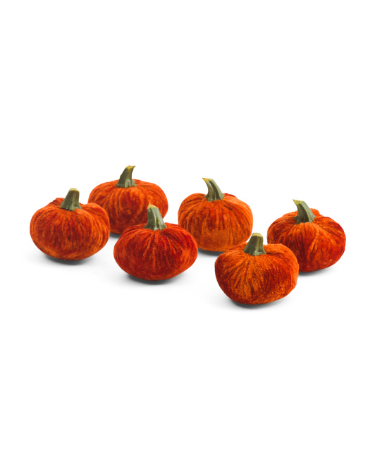 Set Of 6 Velvet Pumpkins