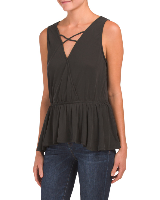 Made In Usa Cross Front Peplum Tank