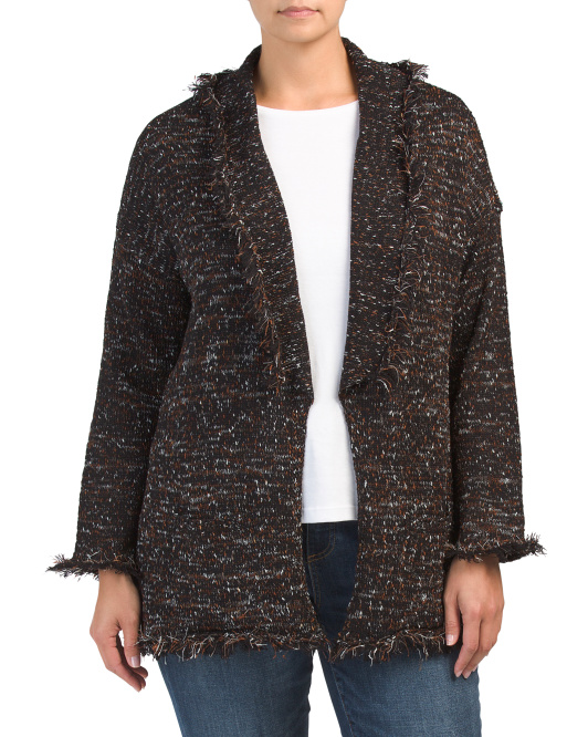 Plus Speckle Cardigan With Fringe
