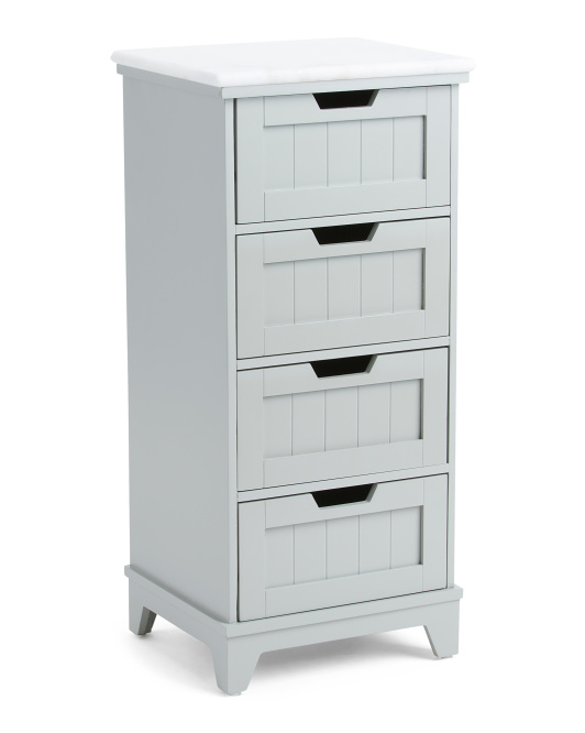 4 Drawer Marble Top Bath Cabinet