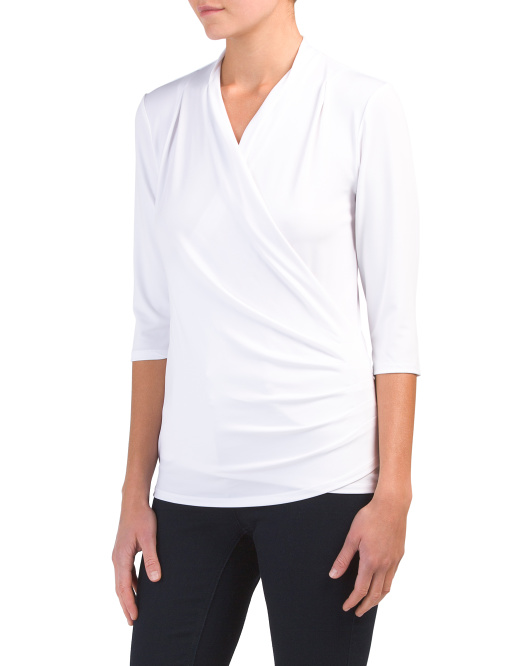 Three-quarter Sleeve Ruched Front Top