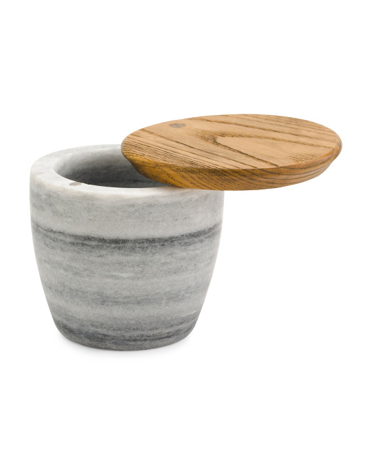 Ash Wood & Marble Salt Box