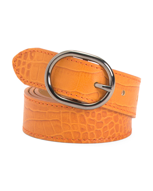 Women's Made In Italy Leather Croco Belt