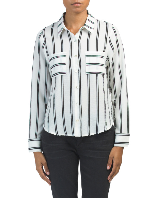 Long Sleeve Striped Woven Top