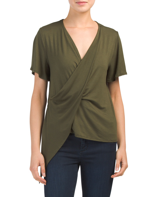 Made In Usa Surplice Wrap Top