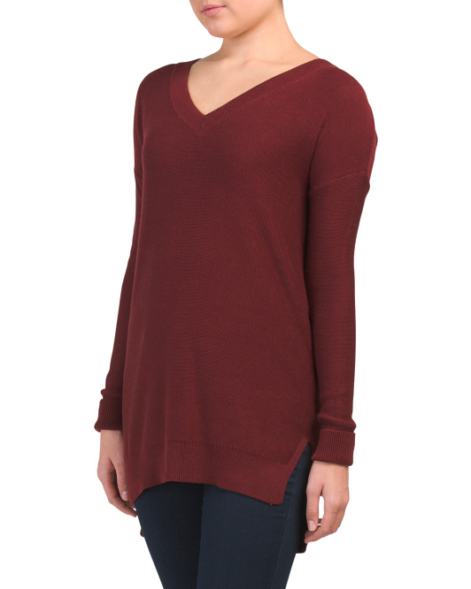 Juniors V-neck Sweater With Criss Cross Back