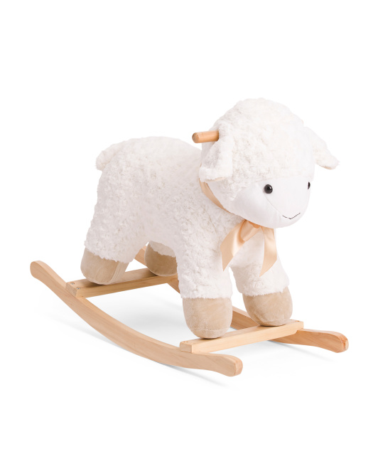 Plush Wood Baby Rocking Lamb