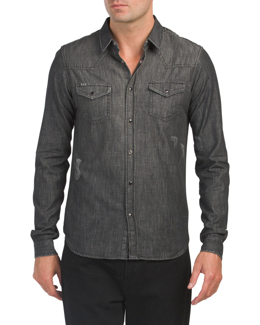 Destroy Long Sleeve Denim Shirt