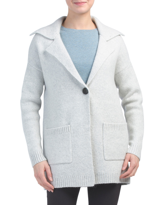 Notch Collar Cardigan With Button Closure