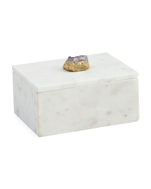 White Marble Box With Amethyst Detail