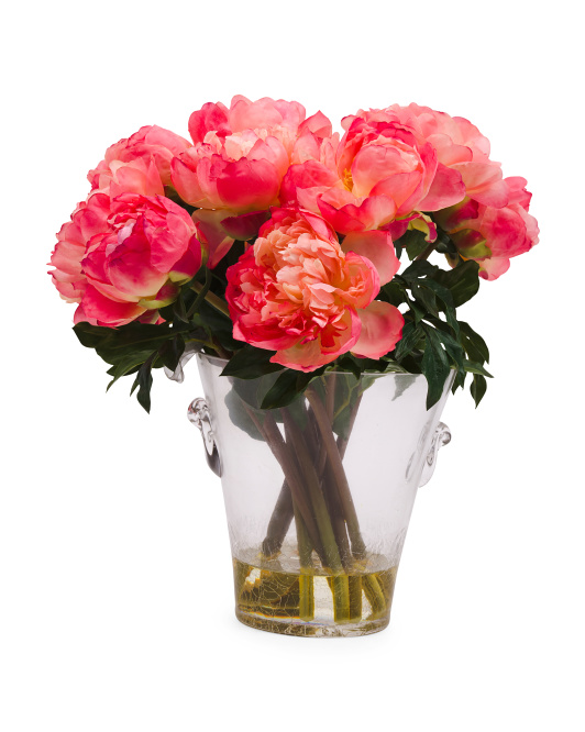 17in Faux Peonies In Glass Vase