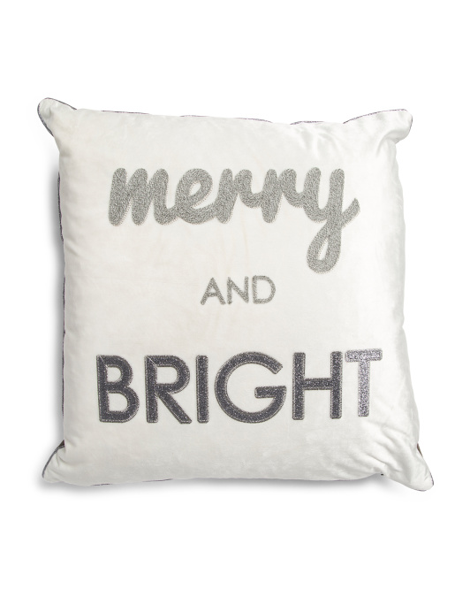 20x20 Velvet Merry And Bright Pillow