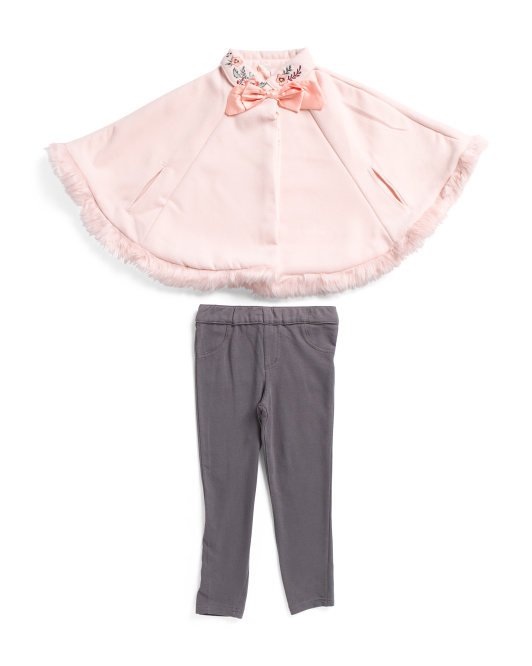 Toddler Faux Fur Trimmed Poncho Ponte Pant Set