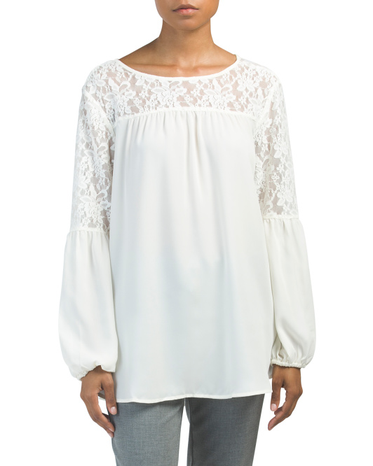 Lace Peasant Sleeve Top