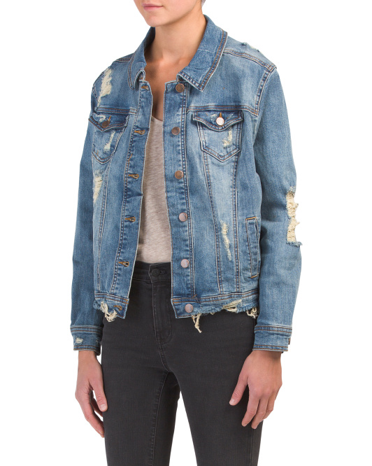 Juniors Destructed Boyfriend Jacket