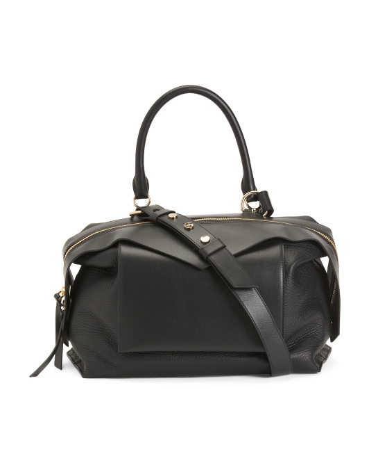 Made In Italy Medium Sway Leather Satchel