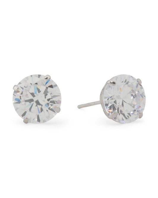 Made In Usa 14k White Gold 8mm Round Basket Cut Cz Stud Earrings