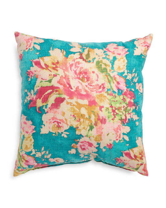 Made In Usa 24x24  Floral Linen Pillow