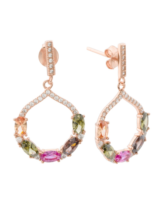 Rose Gold Plated Sterling Silver Colored Cz Open Earrings
