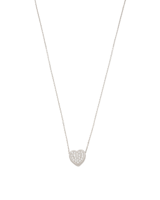 Made In Italy Sterling Silver Pave Cz Heart Necklace