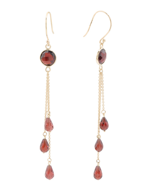 Made In India 14k Gold Garnet Drop Earrings