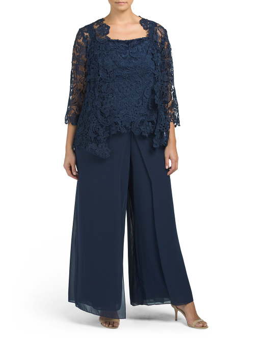 Plus Sheer Lace & Drapery Pant Set