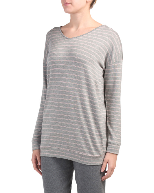 Striped Baby Terry Tunic With Lattice Back Detail