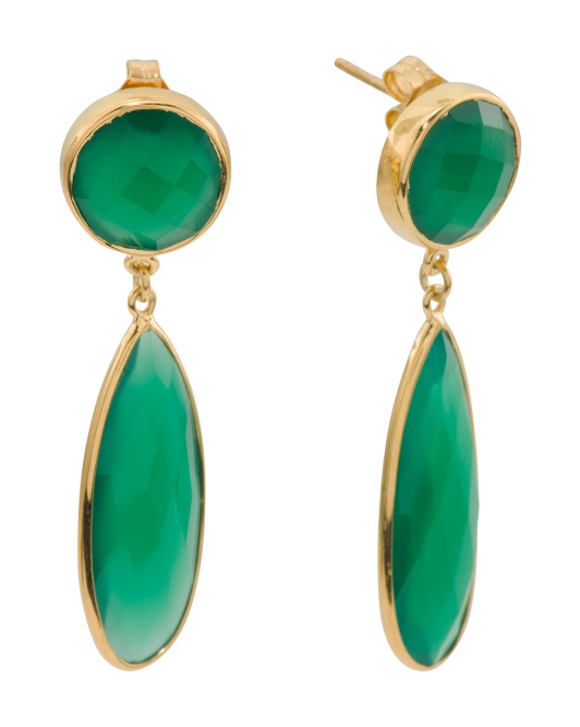 Gold Plated Sterling Silver Green Onyx Drop Earrings