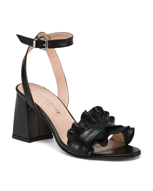 Made In Italy Ruffle Leather Sandals