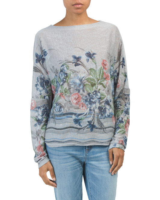 Made In Italy Flower Jersey Top