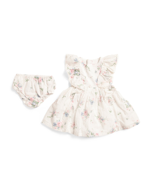Infant Girls Floral Ruffle Swiss Dot Dress With Bloomers