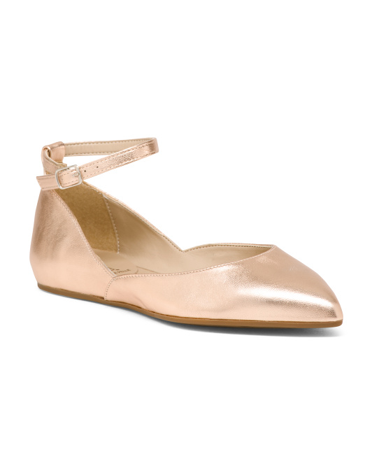Made In Italy Ankle Strap Pointy Toe Flats