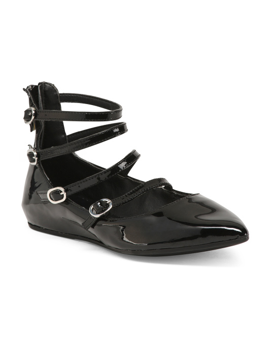 Made In Italy Strappy Patent Leather Flats