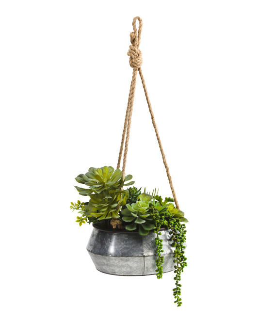 29in Faux Mixed Succulents In Hanging Bowl