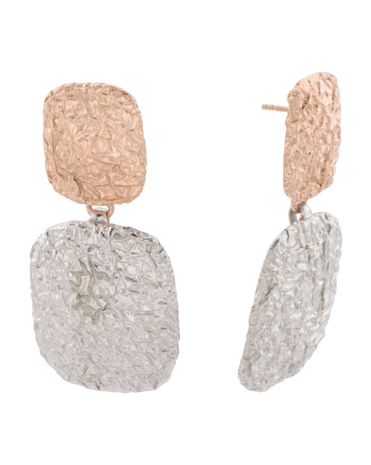 Made In Bali Sterling Silver 2 Tone Hammered Earrings