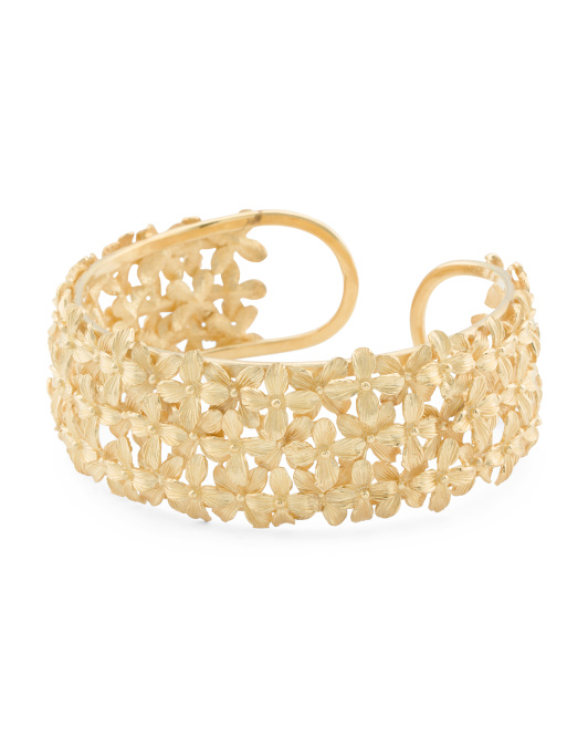 Made In Bali 18k Gold Plated Sterling Silver Floral Bracelet