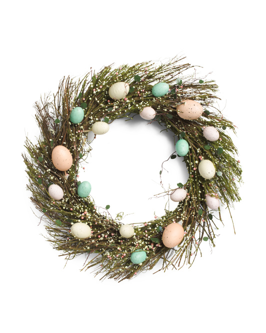 19in Twig Wreath With Eggs & Mini Berries