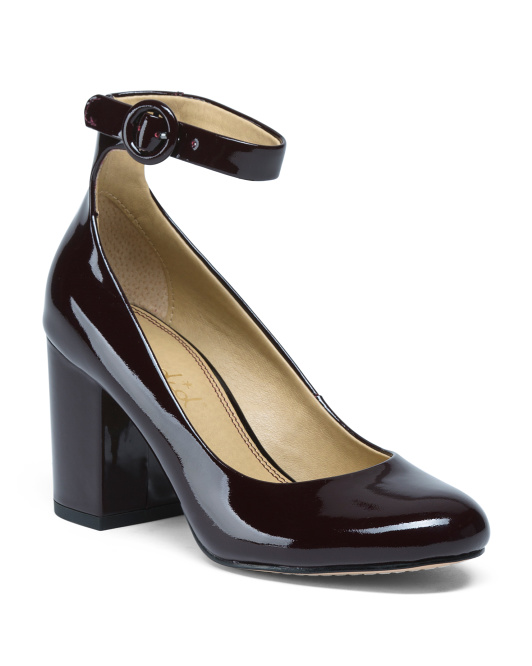 Ankle Strap Patent Leather Pumps