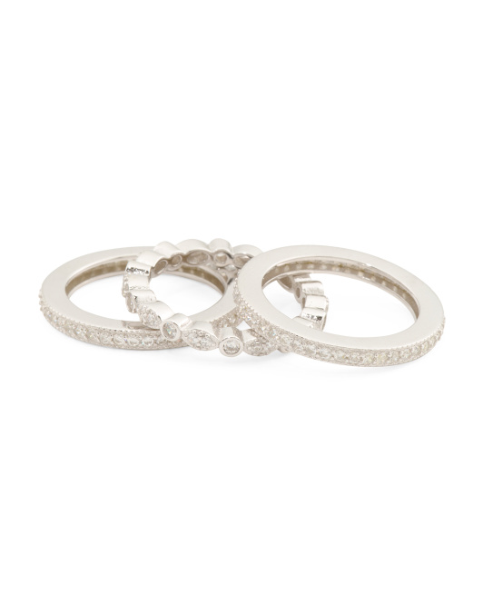 Sterling Silver Cz 3 Ring Set