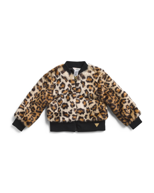 Infant Girls Faux Fur Leopard Bomber Jacket
