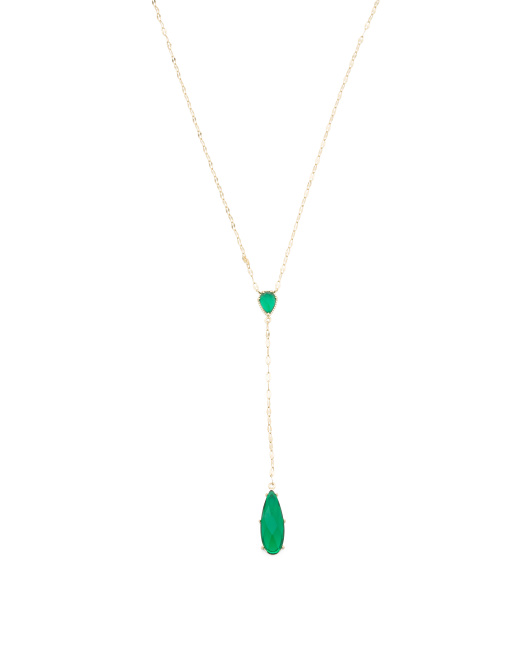 Gold Plated Sterling Silver Emerald Cz Y Necklace