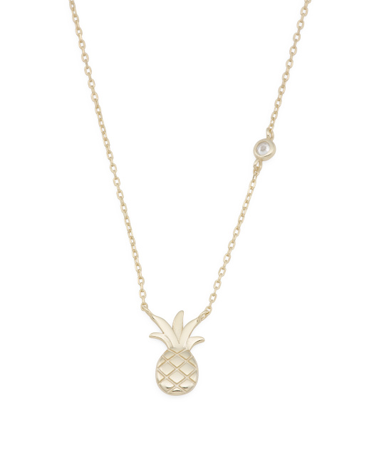 Gold Plated Sterling Silver Pineapple And Cz Accent Necklace