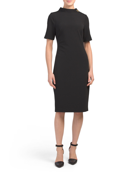 Short Sleeve Turnlock Cocktail Dress