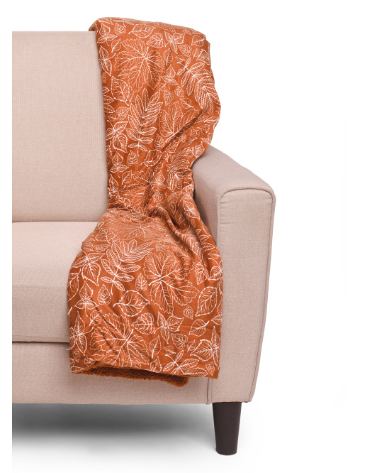 Fall Leaves Micromink Sherpa Throw