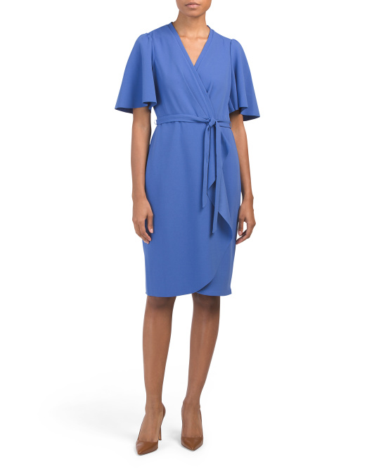 Flutter Sleeve Faux Wrap Dress
