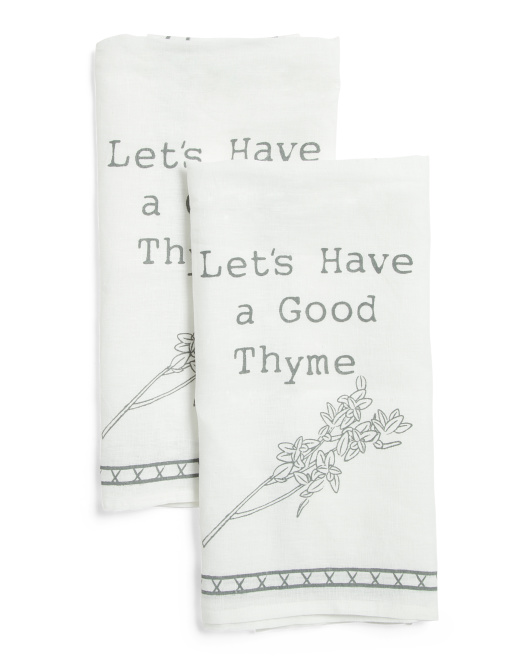 2pc Linen Good Thyme Dish Towels