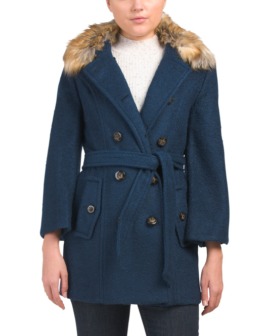 Boucle Wool Blend Faux Fur Collar Coat