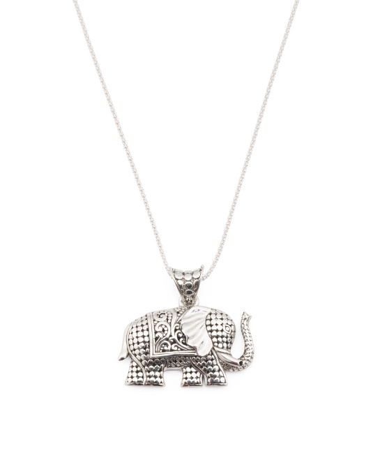 Made In Bali Sterling Silver Beaded Elephant Necklace