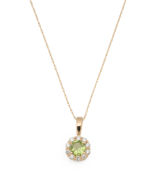 14k Rose Gold Diamond And Peridot Halo Necklace