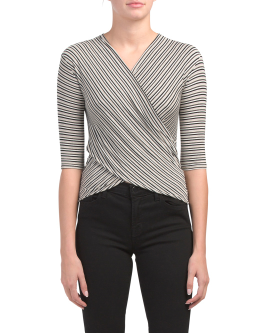 Striped Elbow Sleeve Wrap Top